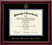 University of Massachusetts Medical School Diploma Frame - Gold Embossed Diploma Frame in Gallery