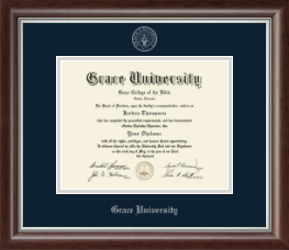 Grace University Diploma Frame - Silver Embossed Diploma Frame in Devonshire