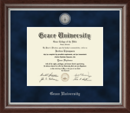 Grace University Diploma Frame - Silver Engraved Medallion Diploma Frame in Devonshire