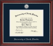 University of North Florida Diploma Frame - Silver Engraved Medallion Diploma Frame in Kensington Silver