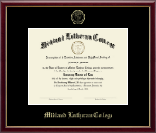 Midland Lutheran College Diploma Frame - Gold Embossed Diploma Frame in Galleria