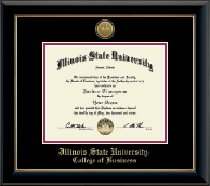 Illinois State University Diploma Frame - Gold Engraved Medallion Diploma Frame in Onyx Gold