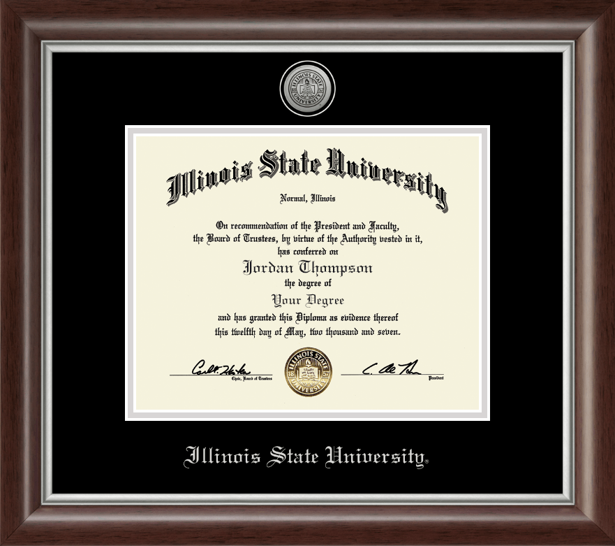 Illinois State University Silver Engraved Medallion Diploma Frame in ...