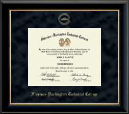 Florence-Darlington Technical College Diploma Frame - Gold Embossed Diploma Frame in Onyx Gold