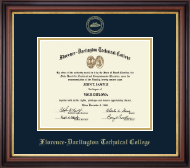 Florence-Darlington Technical College Diploma Frame - Gold Embossed Diploma Frame in Regency Gold