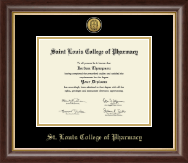Saint Louis College of Pharmacy Diploma Frame - Gold Engraved Medallion Diploma Frame in Hampshire
