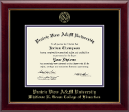 Prairie View A&M University Diploma Frame - Gold Embossed Diploma Frame in Gallery