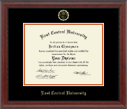 East Central University Diploma Frame - Gold Embossed Diploma Frame in Signature