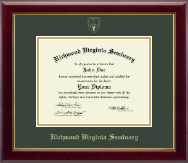 Richmond Virginia Seminary Diploma Frame - Gold Embossed Diploma Frame in Gallery