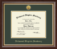 Richmond Virginia Seminary Diploma Frame - Gold Engraved Medallion Diploma Frame in Hampshire