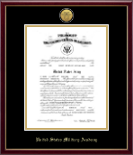 United States Military Academy Certificate Frame - Gold Engraved Medallion Certificate Frame in Galleria