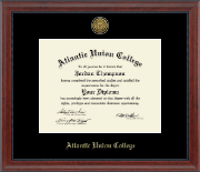 Atlantic Union College Diploma Frame - Gold Engraved Medallion Diploma Frame in Signature