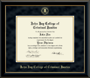 John Jay College of Criminal Justice Diploma Frame - Gold Embossed Diploma Frame in Onyx Gold