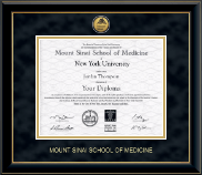 Mount Sinai School of Medicine Diploma Frame - Gold Engraved Medallion Diploma Frame in Onyx Gold