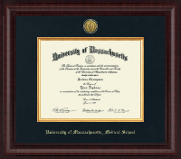 University of Massachusetts Medical School Diploma Frame - Presidential Gold Engraved Diploma Frame in Premier