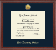 Yale Divinity School Diploma Frame - Gold Engraved Medallion Diploma Frame in Signature