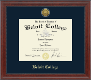 Beloit College Diploma Frame - Gold Engraved Medallion Diploma Frame in Signature