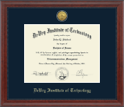 DeVry Institute of Technology Diploma Frame - Gold Engraved Medallion Diploma Frame in Signature