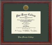 Pine Manor College Diploma Frame - Gold Engraved Medallion Diploma Frame in Signature