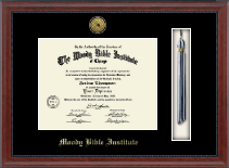 Moody Bible Institute Diploma Frame - Gold Engraved Medallion and Tassel Diploma Frame in Signature