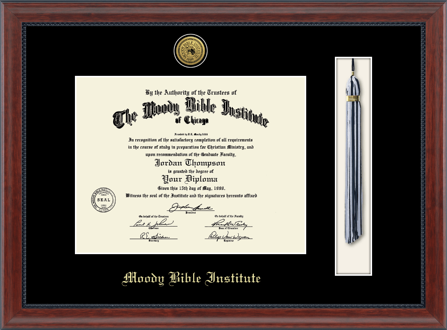 moody bible institute gold engraved medallion and tassel diploma frame in signature item 130890 from lifeway christian stores - Diploma Frames