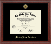 Moody Bible Institute Diploma Frame - Gold Engraved Medallion Diploma Frame in Signature
