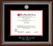 Stanford University Diploma Frame - Silver Engraved Medallion Diploma Frame in Devonshire