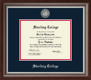 Sterling College Diploma Frame - Silver Engraved Medallion Diploma Frame in Devonshire