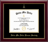 Delta Mu Delta Honor Society Certificate Frame - Gold Embossed Certificate Frame in Gallery