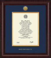 Rice University Diploma Frame - Presidential Gold Engraved Diploma Frame in Premier