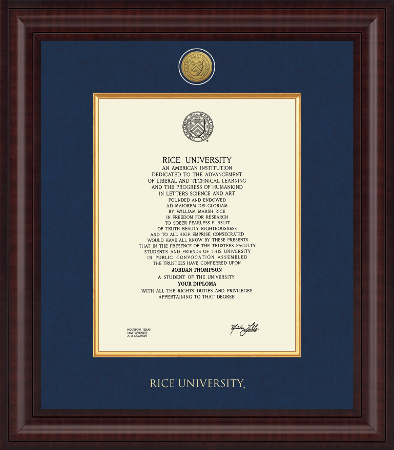 rice university diploma frame presidential gold engraved diploma frame in premier