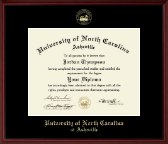 University of North Carolina Asheville Diploma Frame - Gold Embossed Diploma Frame in Camby