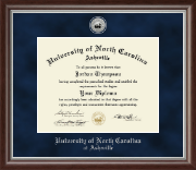 University of North Carolina Asheville Diploma Frame - Silver Engraved Medallion Diploma Frame in Devonshire