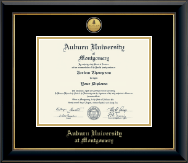 Auburn University Montgomery Diploma Frame - Gold Engraved Medallion Diploma Frame in Onyx Gold