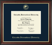 Columbia International University Diploma Frame - Gold Embossed Diploma Frame in Studio Gold