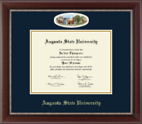 Augusta State University Diploma Frame - Campus Cameo Diploma Frame - Navy/Gold Mat in Chateau