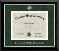 Cleveland State University Diploma Frame - Silver Embossed Diploma Frame in Onyx Silver