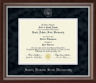 South Dakota State University Diploma Frame - Silver Embossed Diploma Frame in Devonshire