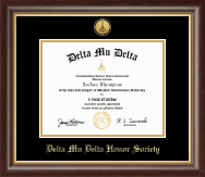 Delta Mu Delta Honor Society Certificate Frame - Gold Engraved Medallion Certificate Frame in Hampshire