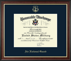 Air National Guard Certificate Frame - Air Force National Guard Honorable Discharge Certificate Frame in Studio Gold