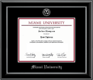 Miami University Diploma Frame - Silver Embossed Diploma Frame in Onyx Silver