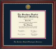 The Southern Baptist Theological Seminary Diploma Frame - Gold Engraved Medallion Diploma Frame in Kensington Gold