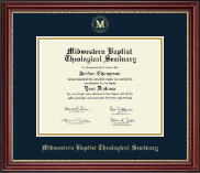 Midwestern Baptist Theological Seminary Diploma Frame - Gold Embossed Diploma Frame in Kensington Gold