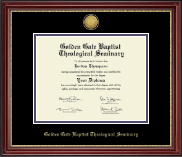 Golden Gate Baptist Theological Seminary Diploma Frame - Gold Engraved Medallion Diploma Frame in Kensington Gold