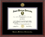James Madison University Diploma Frame - Gold Engraved Medallion Diploma Frame in Signature