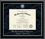 The University of Oklahoma Diploma Frame - Silver Engraved Medallion Diploma Frame in Onyx Silver