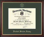 US Army Honorable Discharge Certificate Frame in Studio Gold