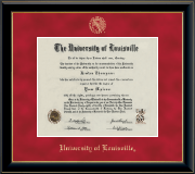 University of Louisville Diploma Frame - Gold Embossed Diploma Frame in Onyx Gold