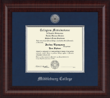 Middlebury College Diploma Frame - Presidential Silver Engraved Diploma Frame in Premier