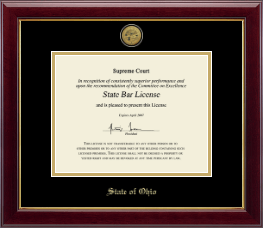 State of Ohio Certificate Frame - Gold Engraved Medallion Certificate Frame in Gallery